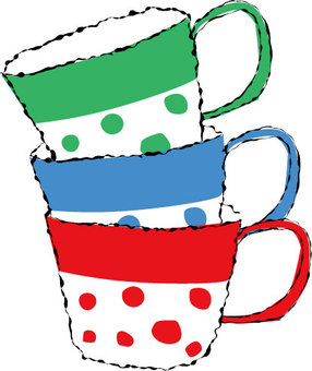 Hand-drawn style cup (stacking)