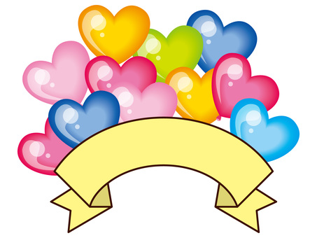 Title with many balloons - Ribbon