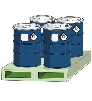 Toxic ingredient drums on a pallet