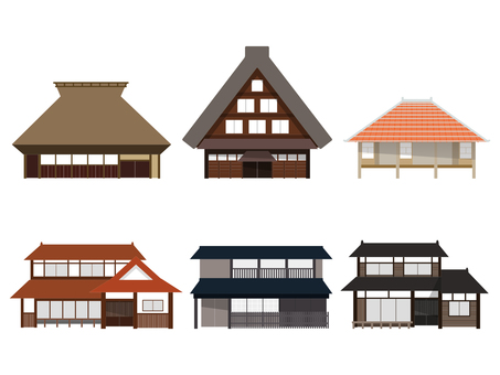 Illustration set of traditional houses