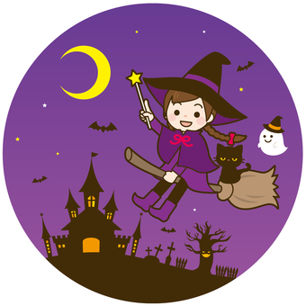 Halloween Witch and Castle