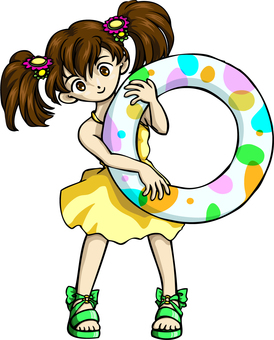 A floating wheel and a girl