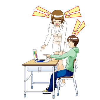 Understand male elementary school student and female teacher PC class 4
