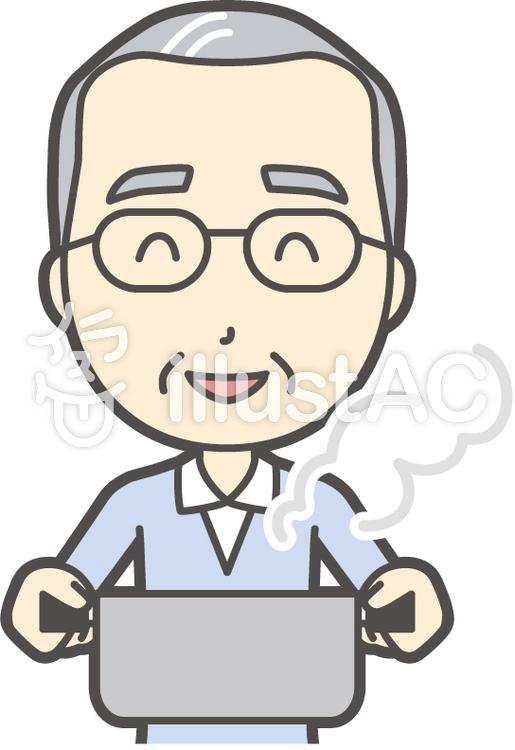 高齢ブルー男性-273-バストのイラスト
