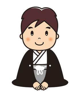 Seiza greeting male illustration in hakama