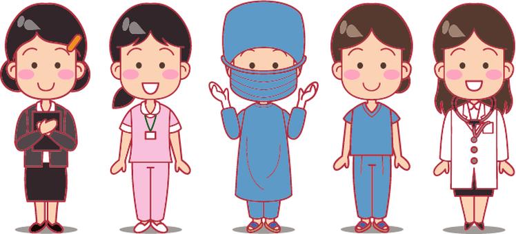 Doctor, nurse, clerk 2