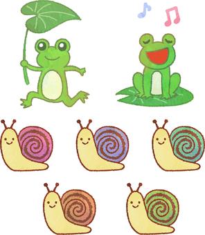 Frog and snail illustration watercolor set transparent