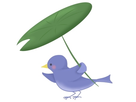 Illustration of a bird with leaves