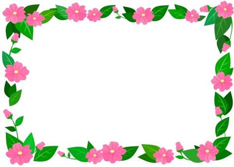 잎과 꽃 프레임 (핑크)
