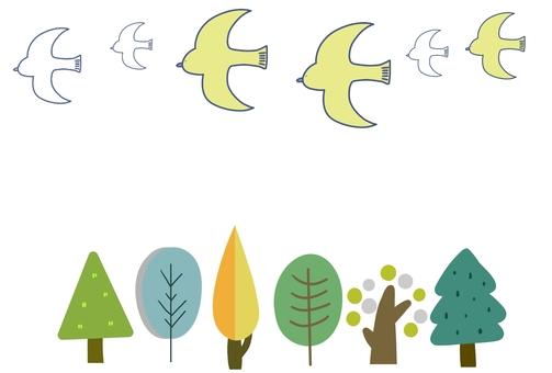 나무와 새 카드