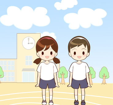 Men and women standing in the schoolyard wearing gym clothes