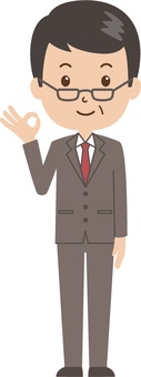 Middle-aged man   salaried worker   suit   OK