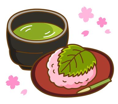 Sakura cake and tea