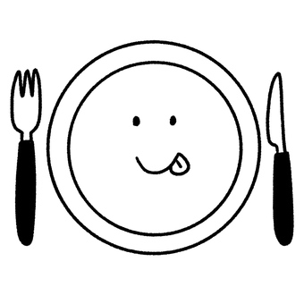 Plate, fork, knife, with face