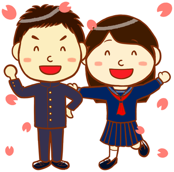 "School run and sailor uniform (cherry blossom version) ""Red"