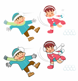 Kids playing in a snowball fight