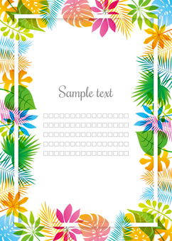 Tropical frame background, A4 vertical, with feet