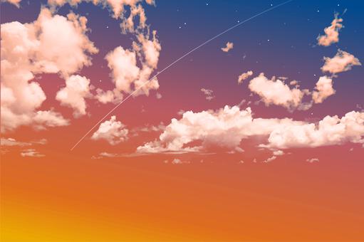 Nostalgic sunset sky