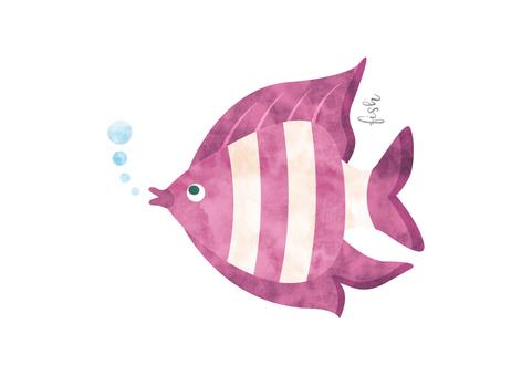 Tropical fish watercolor animal illustration material 005