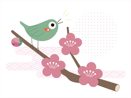 꽃의 소재 061 매화에 휘파람새