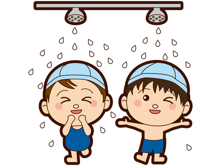 Elementary school students - Swimming pool - Swimwear - Gender - shower