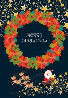 クリスマスとポインセチア リース