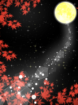Moonlight that shines through the autumn leaves