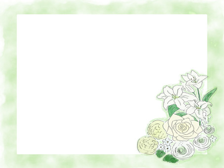 White flower bouquet frame one side