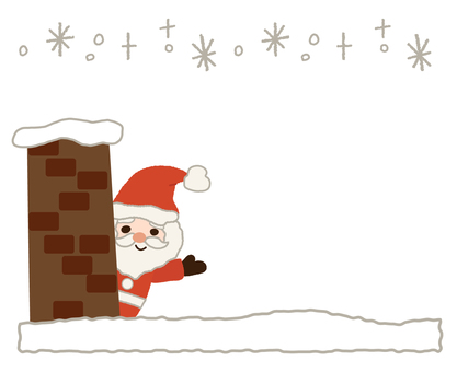 Santa Claus waving from the chimney
