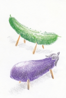 Cucumbers and eggplants that looked like horses