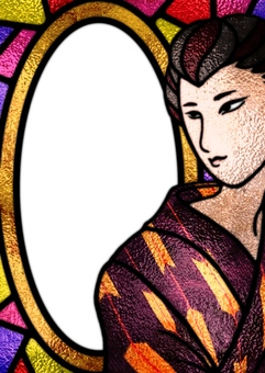 Stained Glass Frame Japanese Woman