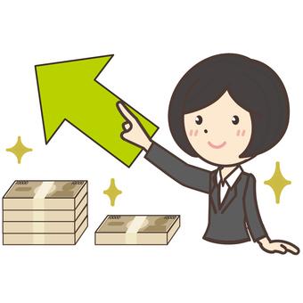A figure that raises income and a company employee woman