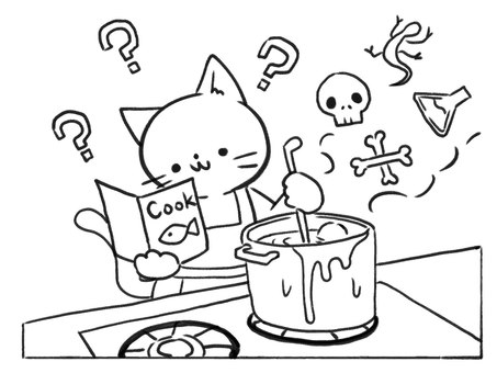 [Line drawing] Cooking while watching the recipe
