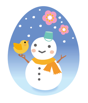 Snowman and chick