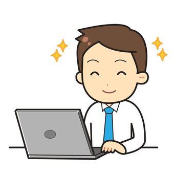Man working on laptop computer_03