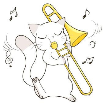 トロンボーンを吹く猫