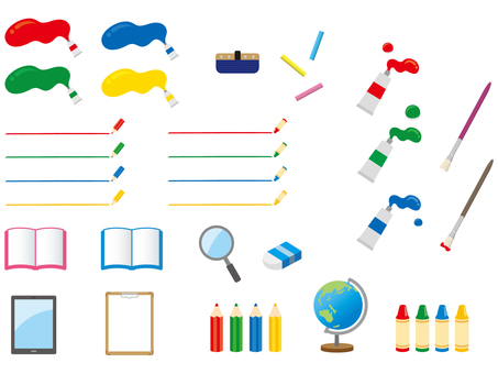 Stationery illustration set material used at school