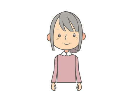 Elderly woman upper body illustration
