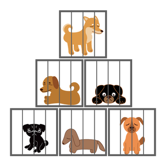 Animals in the cage (dogs)