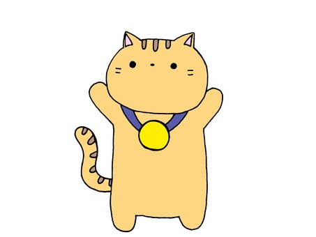 Cat and medal 1 of 2