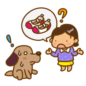 Illustration of a dog to lick a girl looking for shoes