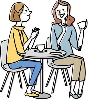 A woman who makes a tea with a friend