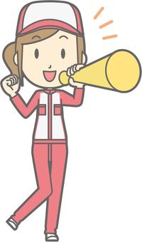 Mechanic woman - megaphone - whole body