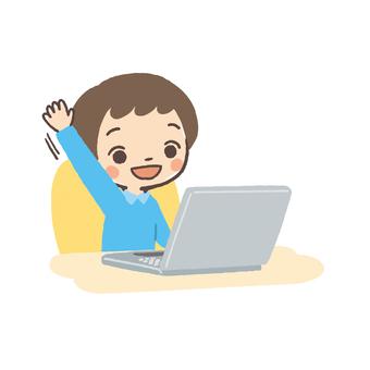 Laptop and boys raise hands