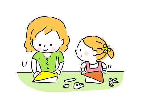 Origami with parent and child during summer vacation (girl)