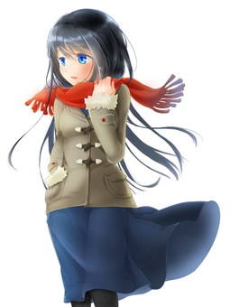 Girl in winter clothes (without background)