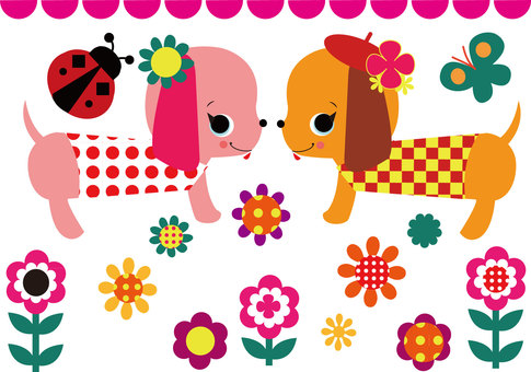 Retro material ☆ flower ☆ dog