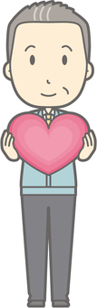 Middle-aged man work clothes - Heart - whole body
