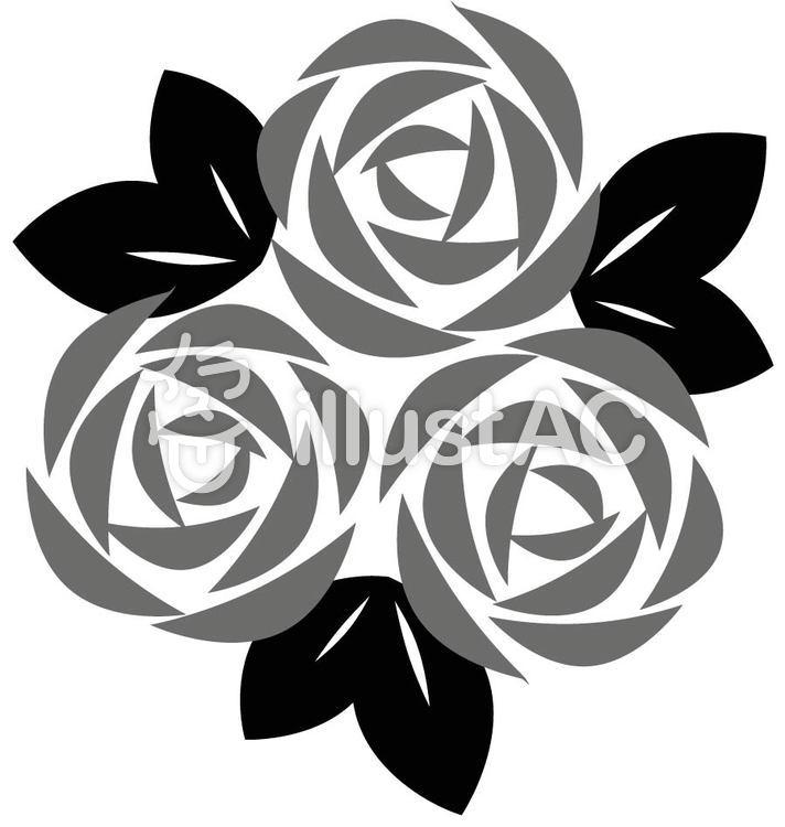 バラの花 モノクロイラスト No 148776無料イラストならイラストac
