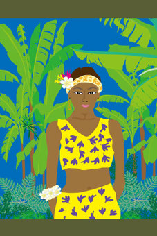 Tropical yellow clothes ladies tropical illustration